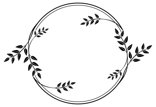 Black and white round frame with floral silhouettes. Copy space. Vector clip art