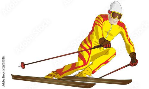 Ski alpin fichier vectoriel libre de droits sur la - Ski alpin dessin ...