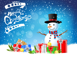 christmas greeting snowman with gifts on blue background