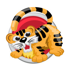 Tiger. Orient horoscope sign isolated in circle