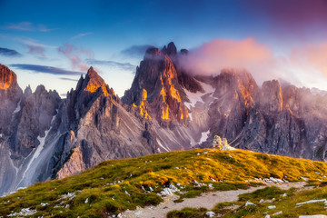 Wall Mural - sunset in mountains landscape
