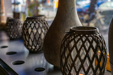 Decorative vessels on a window sill
