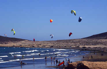 El Medano surfing and kitesurfing beach in south coast of Tenerife,Canary Islands,Spain.Travel or vacation concept.