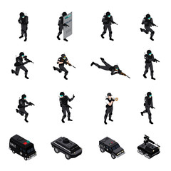 Special Weapons Unit Isometric Icons Collection