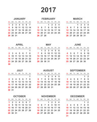 Simple calendar 2017 in vertical style. Flat vector illustration on white background.