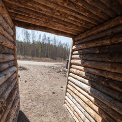 Interior of an empty rural wooden corridor