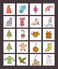 Christmas icons. Abstract Vector