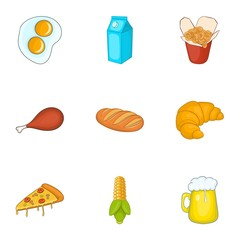Unhealthy food icons set. Cartoon illustration of 9 unhealthy food vector icons for web