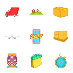 Delivery icons set. Cartoon illustration of 9 delivery vector icons for web