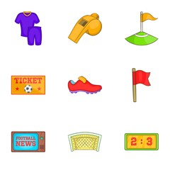 Ball game icons set. Cartoon illustration of 9 ball game vector icons for web