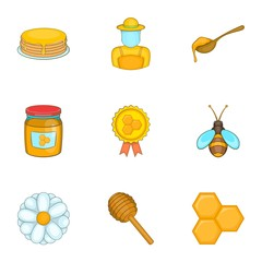 Honey icons set. Cartoon illustration of 9 honey vector icons for web