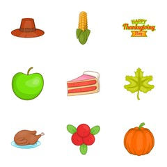 Public holiday of USA icons set. Cartoon illustration of 9 public holiday of USA vector icons for web