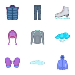 Winter clothes icons set. Cartoon illustration of 9 winter clothes vector icons for web