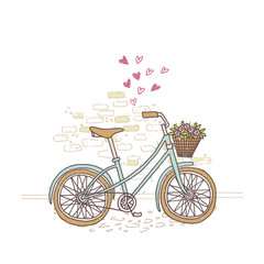 Vector illustration of a nice hand drawn bicycle. Healthy lifestyle poster or card.