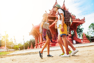 group of tourists at temple on koh samui thailand