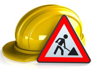 Bauhelm Baustellenschild