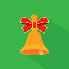 Christmas bells icon with long shadow.
