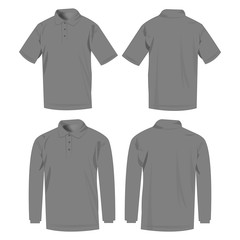Grey polo shirt and polo with long sleeve isolated vector set