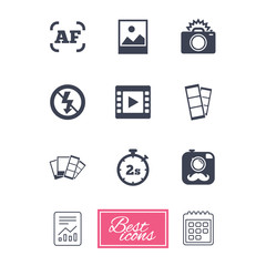 Photo, video icons. Camera, photos and frame signs. No flash, timer and strips symbols. Report document, calendar icons. Vector