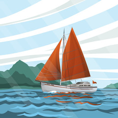 Stylized  seascape with the sailboat floating on the waves
