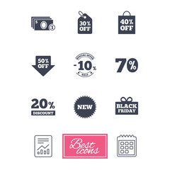 Sale discounts icon. Shopping, black friday and cash money signs. 10, 20, 50 and 70 percent off. Special offer symbols. Report document, calendar icons. Vector