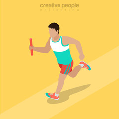 Flat isometric Athlete running baton vector Team sports 3d