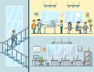 Linear Flat Business men women having lunch office building interior vector lifestyle