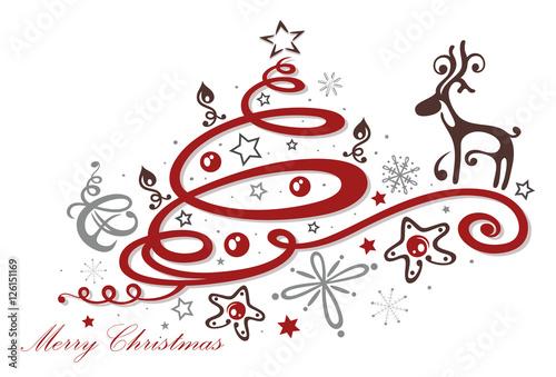 """""""tannenbaum mit rentier und geschenken weihnachten"""