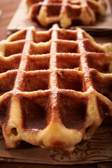 Belgian waffles on a wooden table