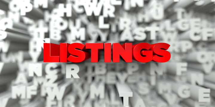 LISTINGS -  Red text on typography background - 3D rendered royalty free stock image. This image can be used for an online website banner ad or a print postcard.