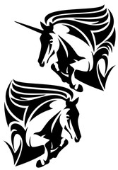 horse and unicorn jump black and white vector design