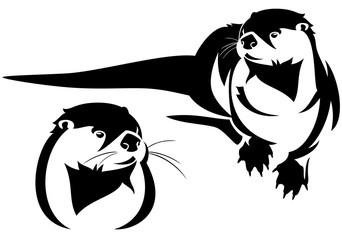 otter black and white vector design