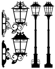 street light black and white vector design