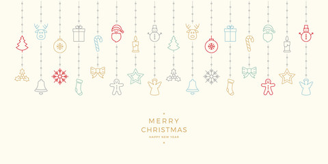 christmas colorful icon elements hanging background