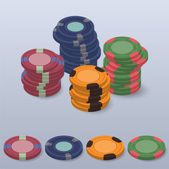 realistic casino chips. set of different color isometric poker chips. roulette chips 3d vector illustration