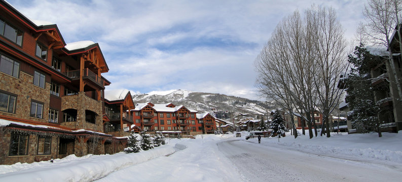 Western style condominiums, in Steamboat Springs, Colorado