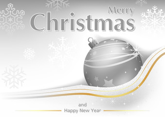 White Merry Christmas Greeting with Silver Bauble and Snowflakes in Background - Abstract Illustration, Vector