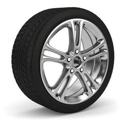 3d Reifen mit Felge, Reifenwechsel im Winter und im Sommer. Winterreifen, Sommerreifen.