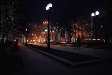 New Year's photos of the city, city street illumination Fotomurales