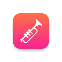 Trumpet icon vector, clip art. Also useful as logo, square app icon, silhouette and illustration.