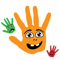 Cartoon smiling palm hands with happy, sad and angry faces. Vector illustration