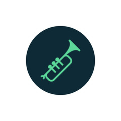 Trumpet icon vector, clip art. Also useful as logo, circle app icon, silhouette and illustration.