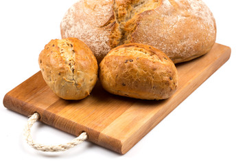 fresh baked bread isolated on white