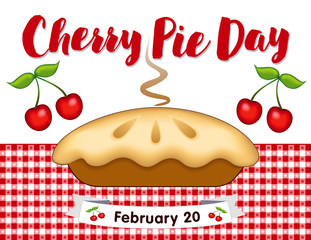Cherry Pie Day, February 20, annual holiday, fresh baked sweet fruit dessert treat on red gingham check place mat. EPS includes check pattern swatch that will seamlessly fill any shape.