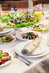 Formal dinner service as at a wedding, banquet or a party