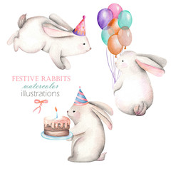 Collection, set of watercolor festive rabbits illustrations, hand drawn isolated on a white background