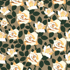 Seamless pattern with roses.Colorful floral print.Textile texture