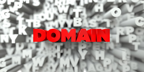 DOMAIN -  Red text on typography background - 3D rendered royalty free stock image. This image can be used for an online website banner ad or a print postcard.