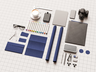 Branding stationery mockup scene. 3D illustration