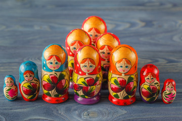 Colorful Russian Nesting Dolls Matreshka Babushka Are Most Popul